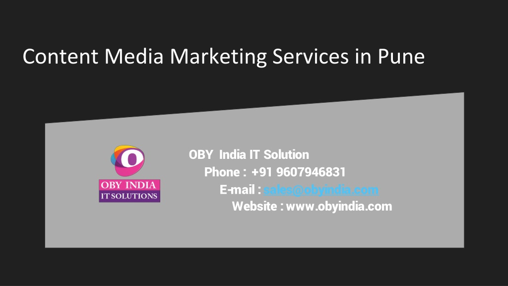 Content Marketing Company in Pune - OBY India IT Solution