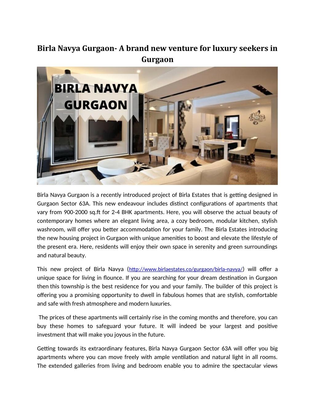 Birla Navya Gurgaon- A brand new venture for luxury seekers in Gurgaon