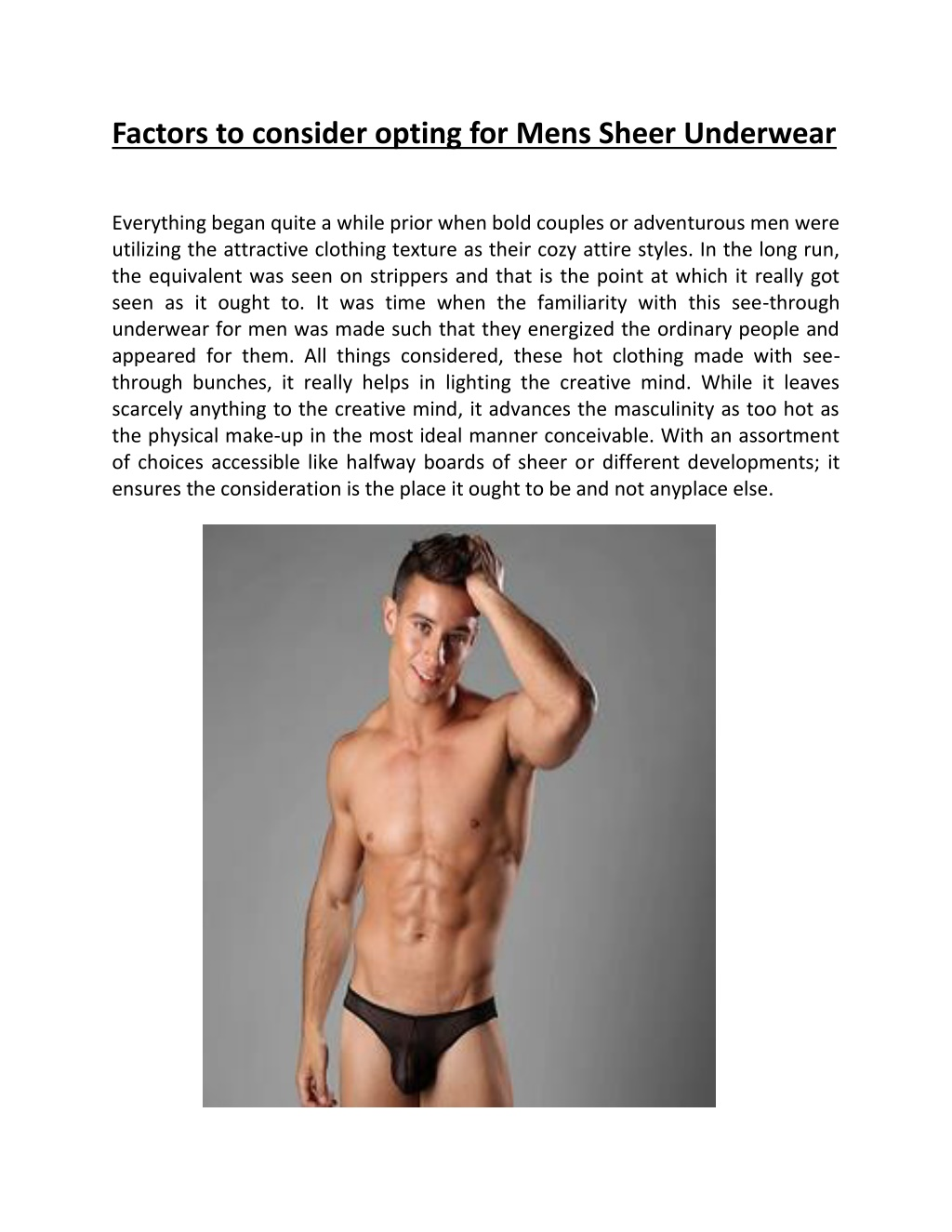 Factors to consider opting for Mens Sheer Underwear