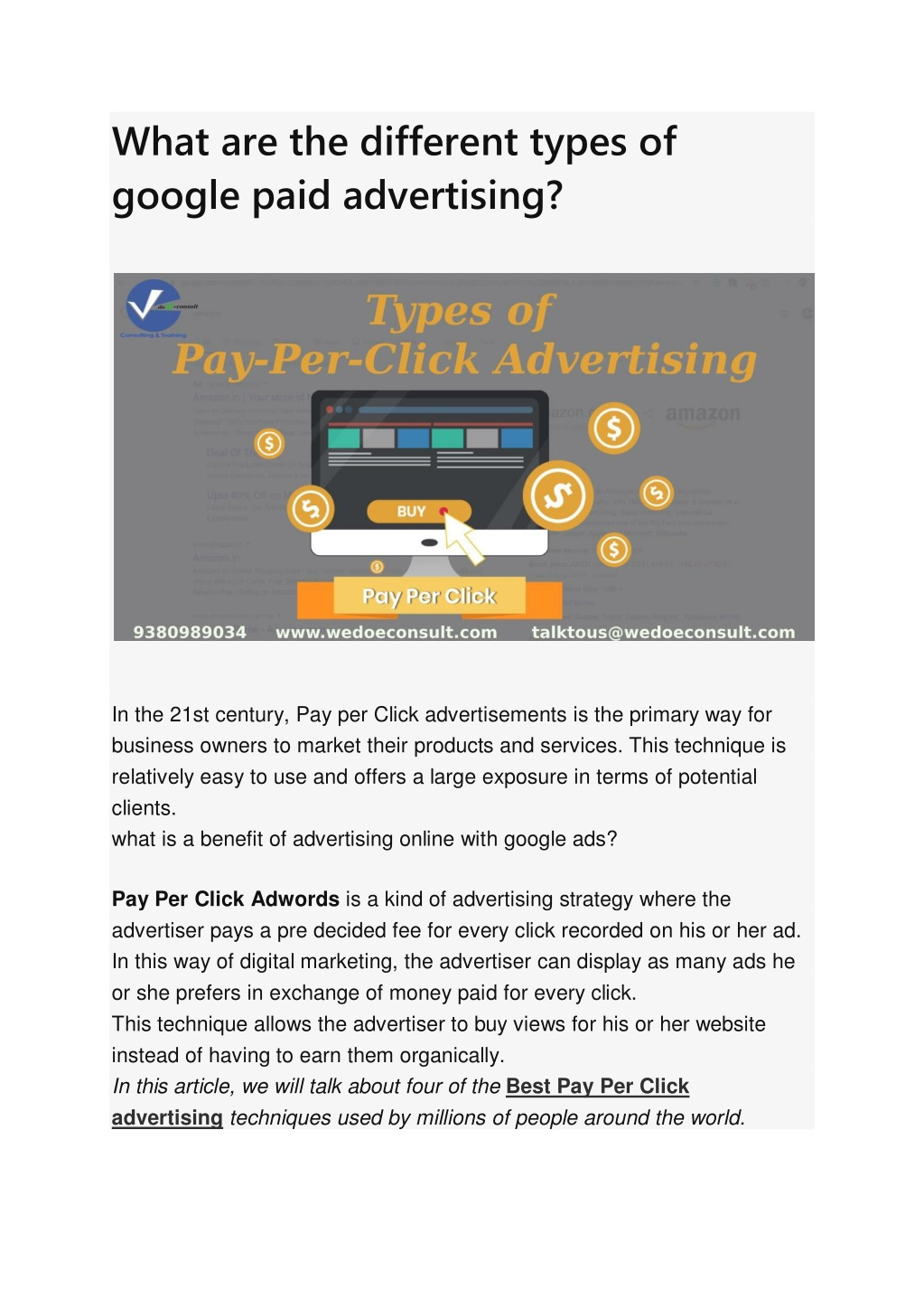 What are the different types of google paid advertising?