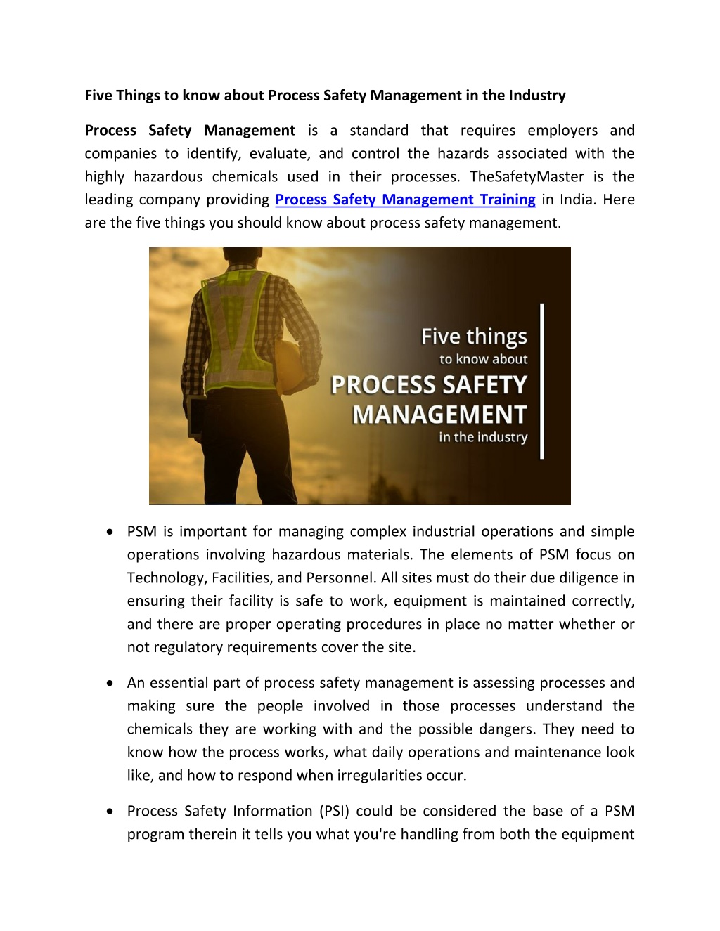 Five Things to know about Process Safety Management in the Industry