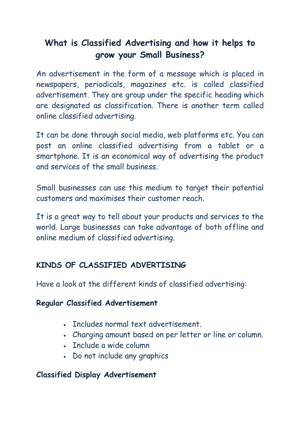 What is Classified Advertising and how it helps to grow your Small Business?