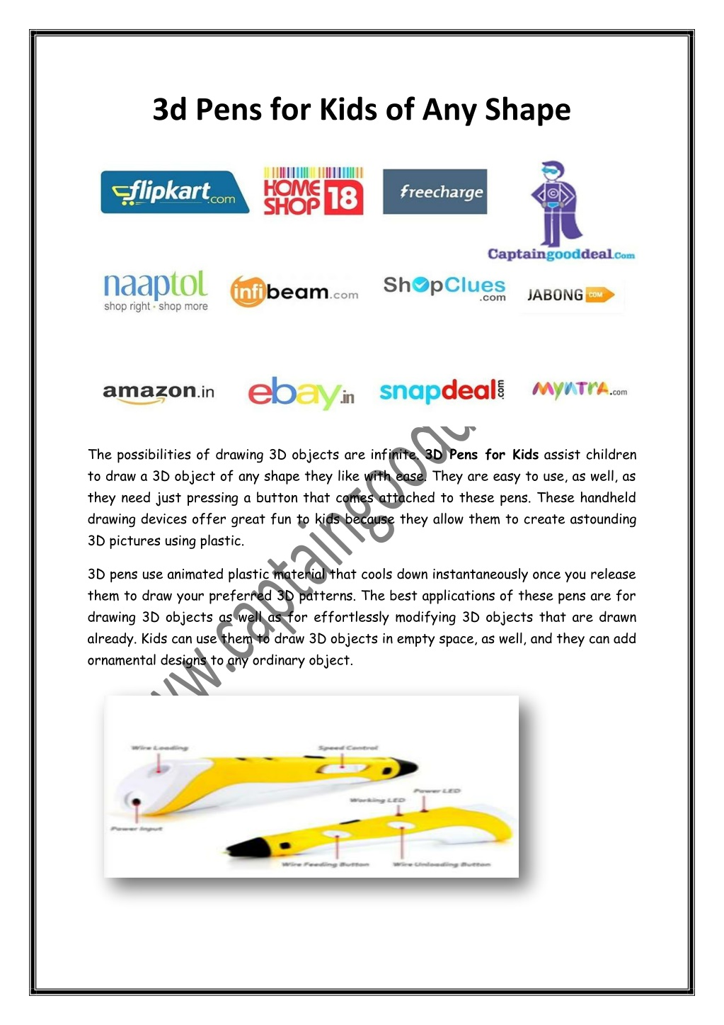 3D Pens for Kids of Any Shape