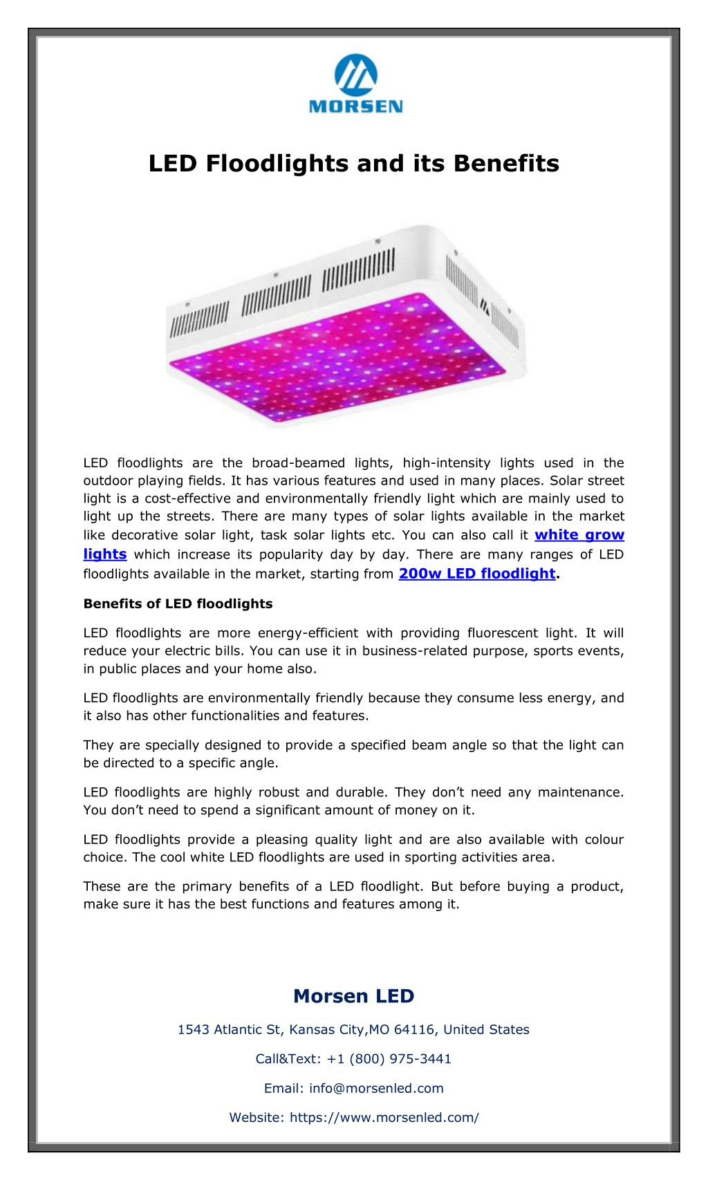 LED Floodlights and its Benefits