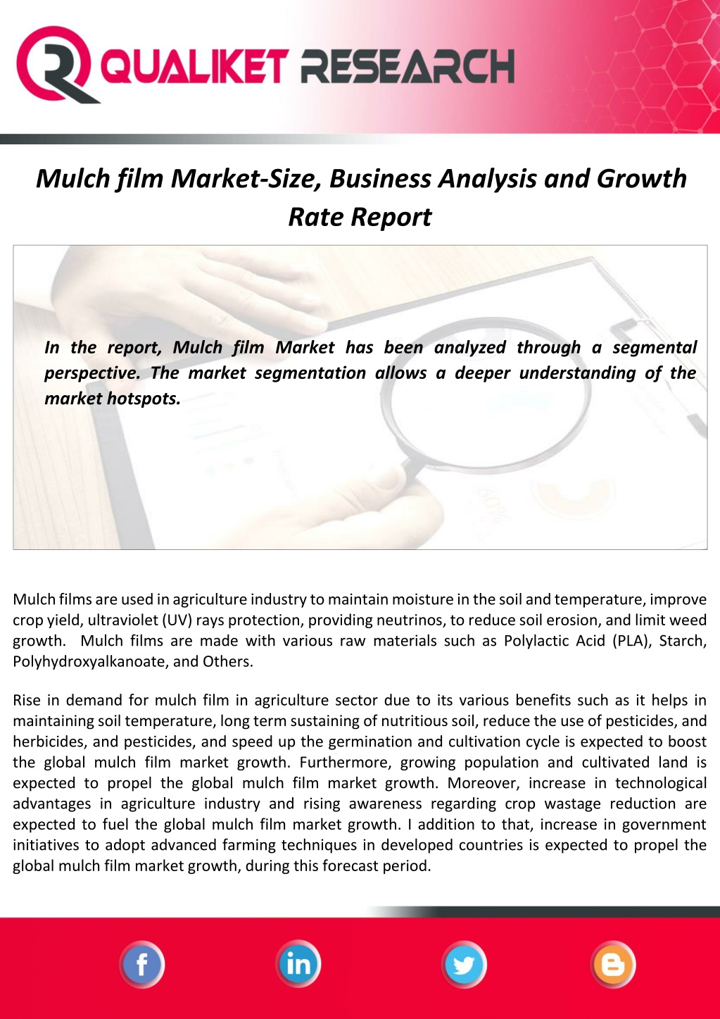 Mulch Film Market Size, Share, Trends & Scope, Product Estimates & Strategy Framework To 2020-2027