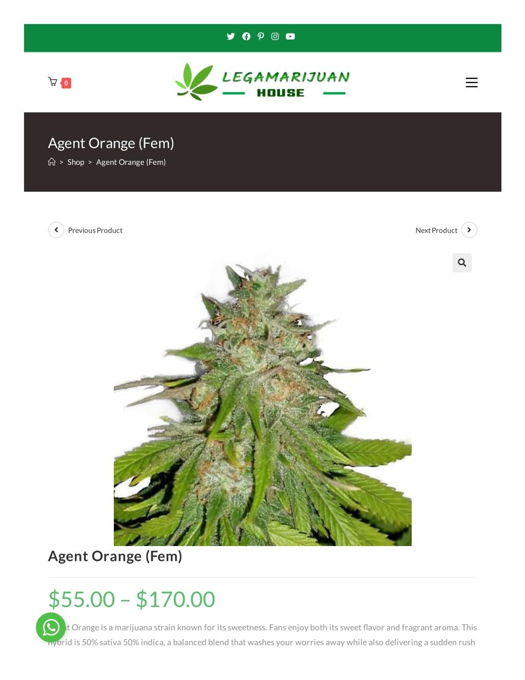 Buy Agent Orange Femenized Weed Seeds Online – Buy Weed Online